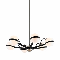 F7163 Troy Hand-Worked Iron Interior Ace 6Lt Chandelier Small with Carbide Black w/Polished Nickel Accents Finish