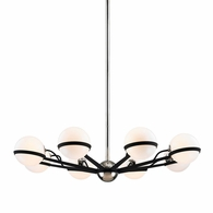 F7164 Troy Hand-Worked Iron Interior Ace 8Lt Chandelier Medium with Carbide Black w/Polished Nickel Accents Finish