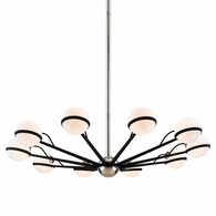 F7166 Troy Hand-Worked Iron Interior Ace 10Lt Chandelier Large with Carbide Black w/Polished Nickel Accents Finish
