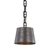 F7203 Troy Hand-Worked Iron Interior Admirals Row 1Lt Pendant with Aged Pewter Finish