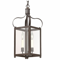 F8920CI Troy Solid Brass Interior Bradford 2Lt Hanging Lantern Small with Charred Iron Finish