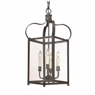 F8921CI Troy Solid Brass Interior Bradford 4Lt Hanging Lantern Medium with Charred Iron Finish