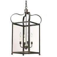 F8922CI Troy Solid Brass Interior Bradford 4Lt Hanging Lantern Large with Charred Iron Finish