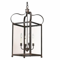 F8922NR Troy Solid Brass Interior Bradford 4Lt Hanging Lantern Large with Natural Rust Finish