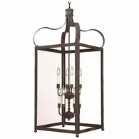 F8923CI Troy Solid Brass Interior Bradford 8Lt Hanging Lantern Extra Large with Charred Iron Finish