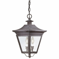 F8932CI Troy Solid Brass Exterior Oxford 2Lt Hanging Lantern Medium with Charred Iron Finish