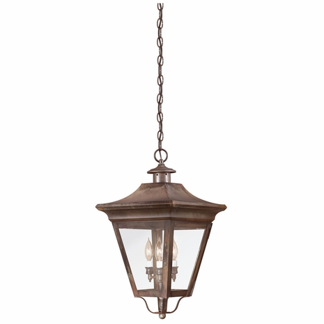 F8935NR Troy Solid Brass Exterior Oxford 3Lt Hanging Lantern Large with Natural Rust Finish