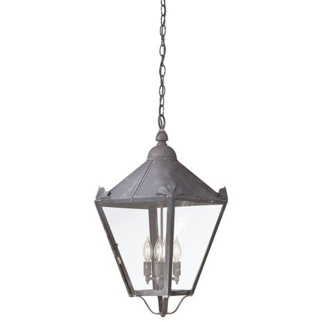 F8948CI Troy Solid Brass Exterior Preston 4Lt Hanging Lantern Large with Charred Iron Finish