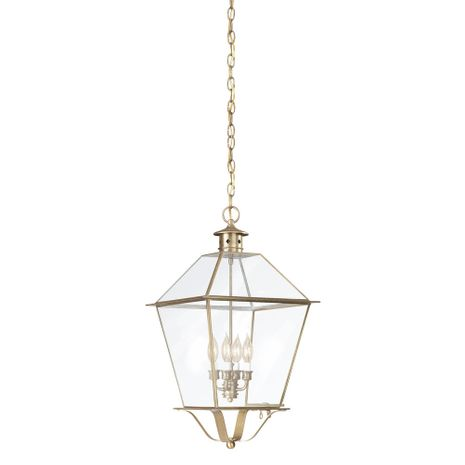 F8962NAB Troy Solid Brass Exterior Montgomery 4Lt Hanging Lantern Extra Extra Large
