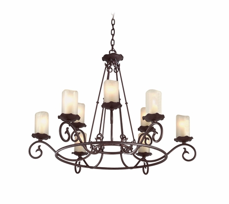 F9199OR Troy Provence Large Old Rust 9 Light Chandelier