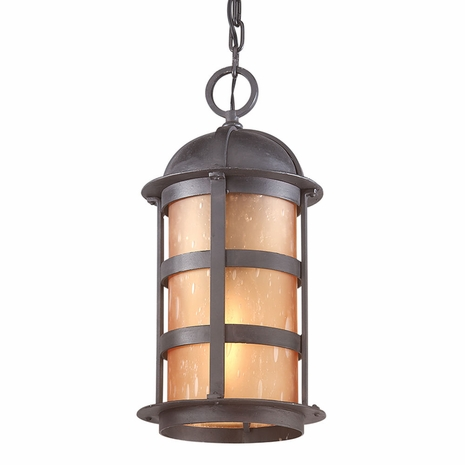F9255NB Troy Hand-Worked Iron Exterior Aspen 1Lt Hanging Lantern Large with Natural Bronze Finish