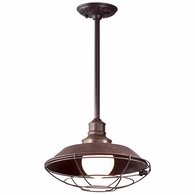 F9273OR Troy Hand-Forged Iron Exterior Circa 1910 1Lt Hanging Downlight Large with Old Rust Finish
