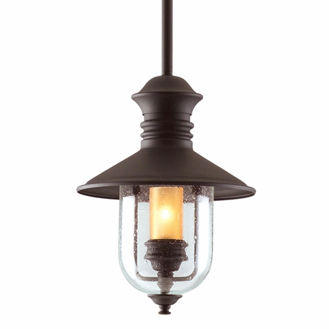 F9362NB Troy Hand-Forged Iron Exterior Old Town 1Lt Hanging Lantern Medium with Natural Bronze Finish