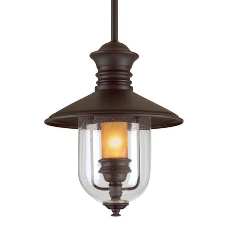 F9363NB Troy Hand-Forged Iron Exterior Old Town 1Lt Hanging Lantern Large with Natural Bronze Finish