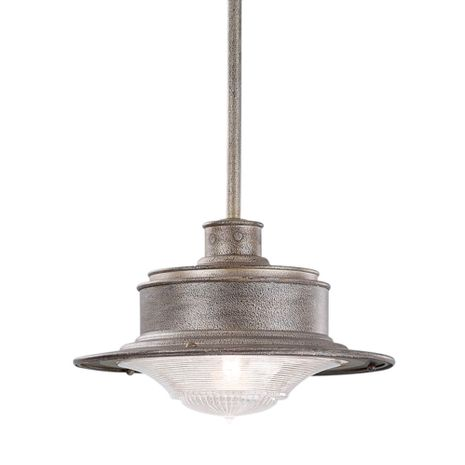 F9395OG Troy Hand-Forged Iron Exterior South Street 1Lt Hanging Downlight Small with Old Galvanized Finish