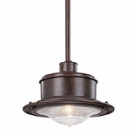 F9395OR Troy Hand-Forged Iron Exterior South Street 1Lt Hanging Downlight Small with Old Rust Finish