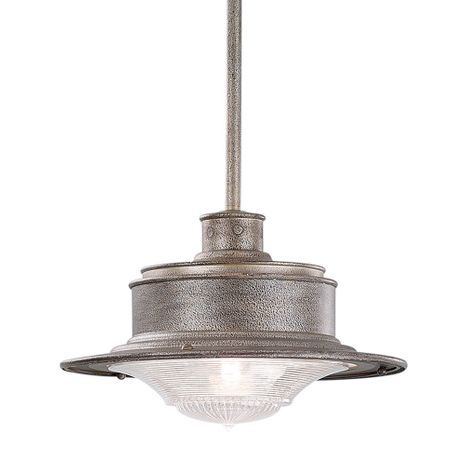 F9396OG Troy Hand-Forged Iron Exterior South Street 1Lt Hanging Downlight Medium with Old Galvanized Finish