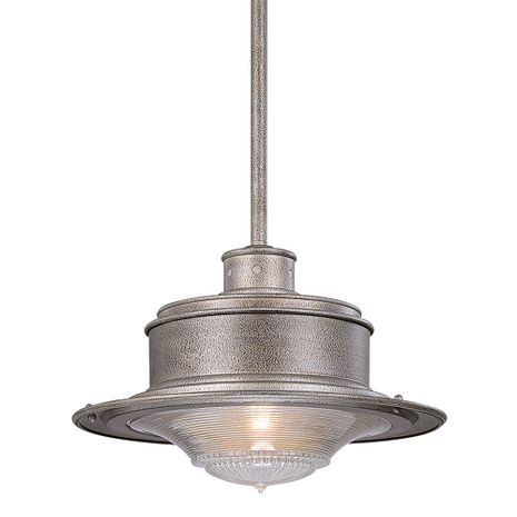 F9397OG Troy Hand-Forged Iron Exterior South Street 1Lt Hanging Downlight Large with Old Galvanized Finish