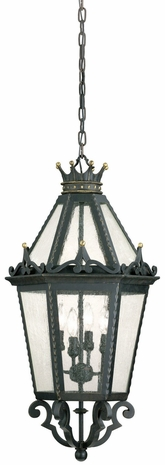 F9458FBK Troy Lighting Medici 4 Light Hanging Lantern in Forged Black Finish
