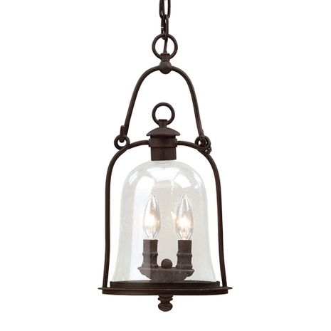 F9466NB Troy Hand-Forged Iron Exterior Owings Mill 2Lt Hanging Lantern Medium with Natural Bronze Finish