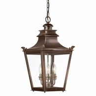 F9498EB Troy Solid Brass Exterior Dorchester 3Lt Hanging Lantern Medium with English Bronze Finish