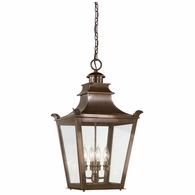 F9499EB Troy Solid Brass Exterior Dorchester 4Lt Hanging Lantern Large with English Bronze Finish