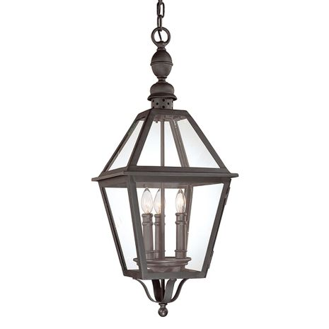 F9627NB Troy Hand-Worked Iron Exterior Townsend 3Lt Hanging Lantern Large with Natural Bronze Finish