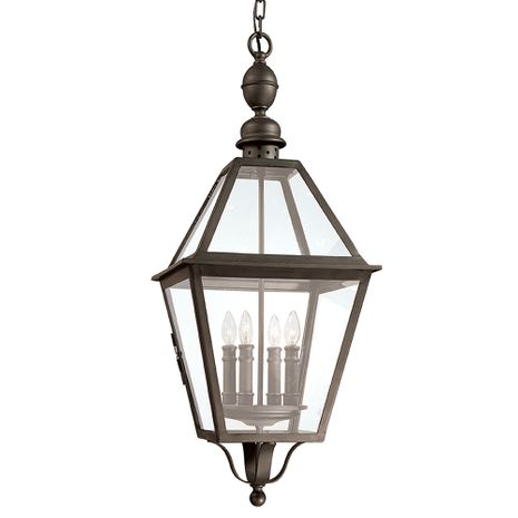 F9628NB Troy Hand-Worked Iron Exterior Townsend 4Lt Hanging Lantern Extra Large with Natural Bronze Finish