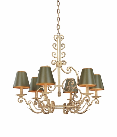 F9804 Troy Lighting Holly Hill Six-Light Chandelier With Green Tole Shades