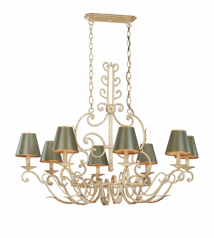F9807 Troy Lighting Holly Hill Eight-Light Chandelier With Red Tole Shades
