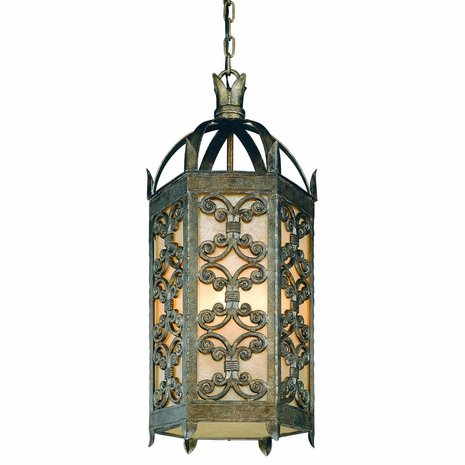 F9908CG Troy Exterior Gables Charred Gold Large 4 Light Hanging Lantern