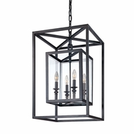 F9994DB Troy Hand-Worked Iron Interior Morgan 4Lt Pendant Medium with Deep Bronze Finish