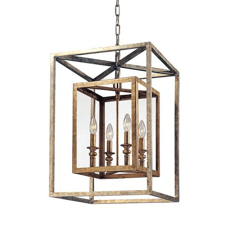 F9994GSL Troy Hand-Worked Iron Interior Morgan 4Lt Pendant Medium with Gold Silver Leaf Finish