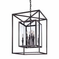 F9998DB Troy Hand-Worked Iron Interior Morgan 8Lt Pendant Large with Deep Bronze Finish