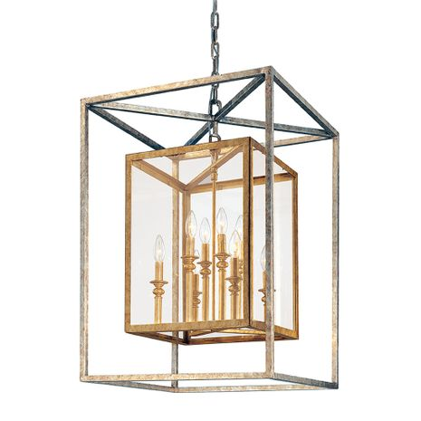 F9998GSL Troy Hand-Worked Iron Interior Morgan 8Lt Pendant Large with Gold Silver Leaf Finish