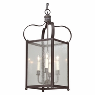 FCD8921CI Troy Solid Brass Interior Bradford 4Lt Hanging Lantern Medium with Charred Iron Finish