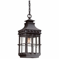 FCD8973NB Troy Hand-Forged Iron Exterior Dover 1Lt Hanging Lantern Medium with Natural Bronze Finish