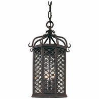 FF2377OI Troy Hand-Worked Iron Exterior Los Olivos 1Lt Hanging Lantern Fluorescent Medium with Old Iron Finish