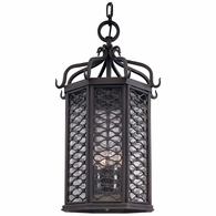 FF2378OI Troy Hand-Worked Iron Exterior Los Olivos 1Lt Hanging Lantern Fluorescent Large with Old Iron Finish