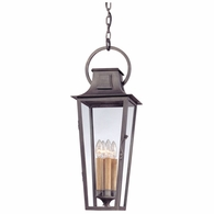 FF2967 Troy Hand-Forged Iron Exterior Parisian Square 1Lt Hanging Lantern Fluorescent Large with Aged Pewter Finish