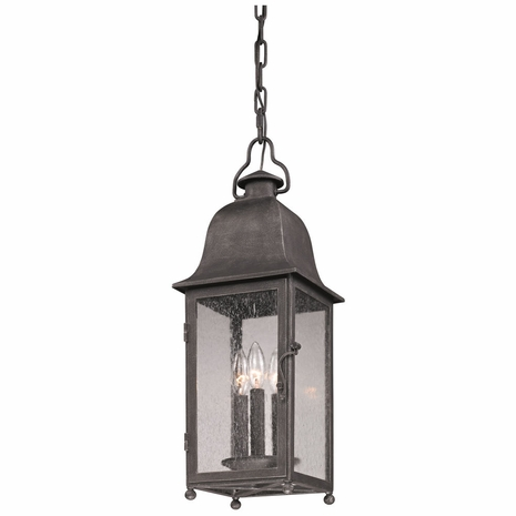 FF3217 Troy Hand-Worked Iron Exterior Larchmont 1Lt Hanging Lantern Fluorescent Medium with Aged Pewter Finish