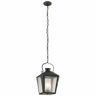 FF3766CI Troy Solid Brass Exterior Nantucket 1Lt Hanging Lantern Flourescent Medium with Charred Iron Finish