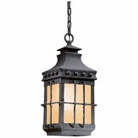 FF8973NB Troy Exterior Dover 1Lt Hanging Lantern Medium W/Amber Panel with Natural Bronze Finish