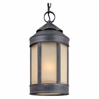 FL1468AI Troy Hand-Worked Iron Exterior Andersons Forge 1Lt Hanging Lantern Large with Antique Iron Finish