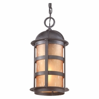 FL9255NB Troy Hand-Worked Iron Exterior Aspen 1Lt Hanging Lantern Led Large with Natural Bronze Finish