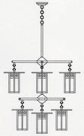 GCH-9-4-4-1 Arroyo Craftsman Nine-inch Glasgow Two-Tier Eight-Light Chandelier plus Center Light