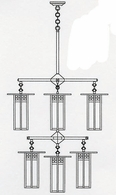 GCH-9L-4-4-1 Arroyo Craftsman Nine-inch Glasgow Long-Body Two-Tier Eight-Light Chandelier plus Center Light