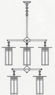 GCH-9L-4-4 Arroyo Craftsman Nine-inch Glasgow Long-Body Two-Tier Eight-Light Chandelier
