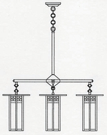 "GCH-9L-4 Arroyo Craftsman 9"" Glasgow Long Body 4 Light Chandelier"