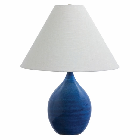"""GS300-BG House of Troy Scatchard 22.5"""" Stoneware Table Lamp in Blue Gloss"""